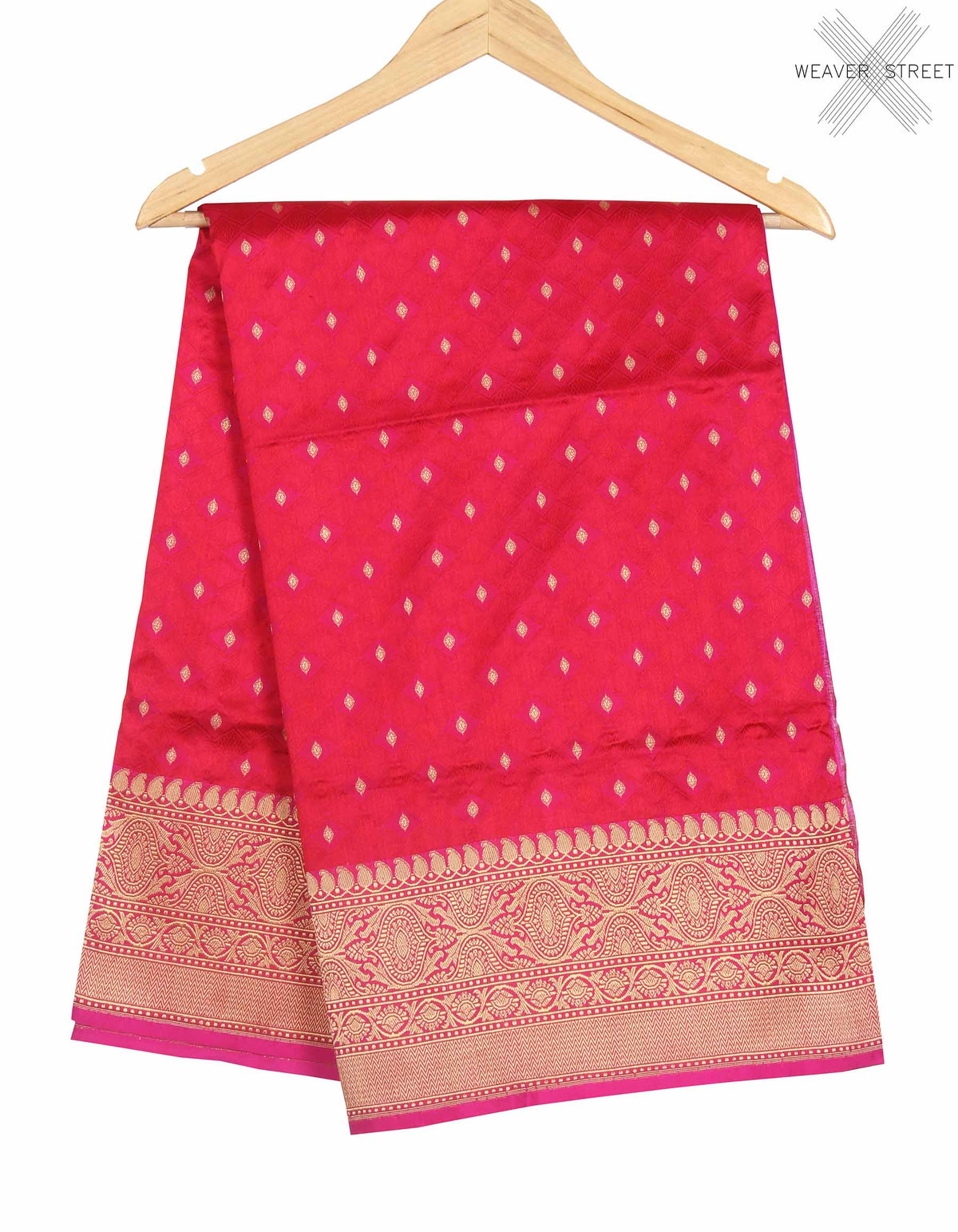 Red Katan Silk Handwoven Banarasi saree with meenedar tanchoi weave (1) main