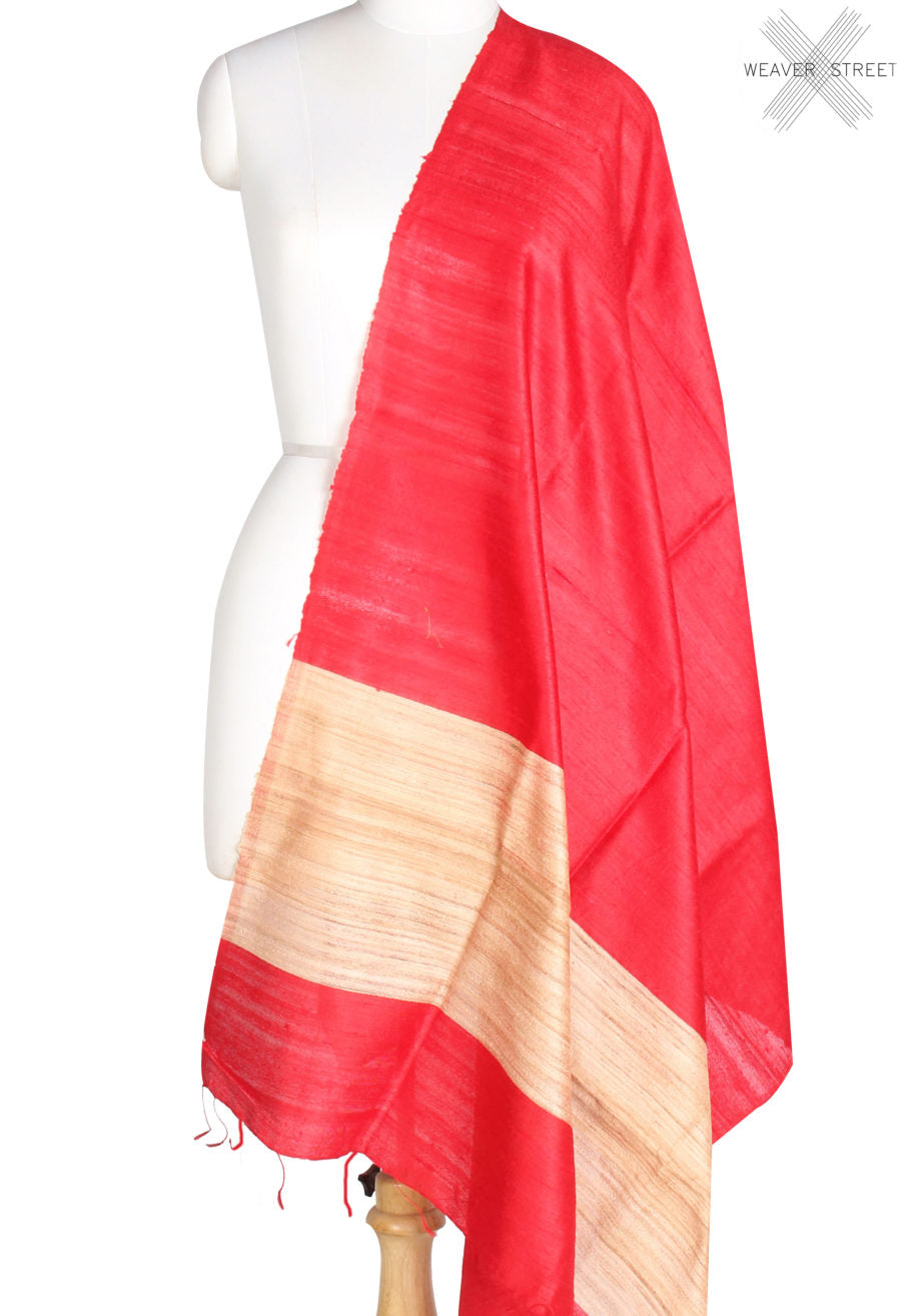 Red Tussar Dupion Raw silk Solid woven dupatta (1) Main