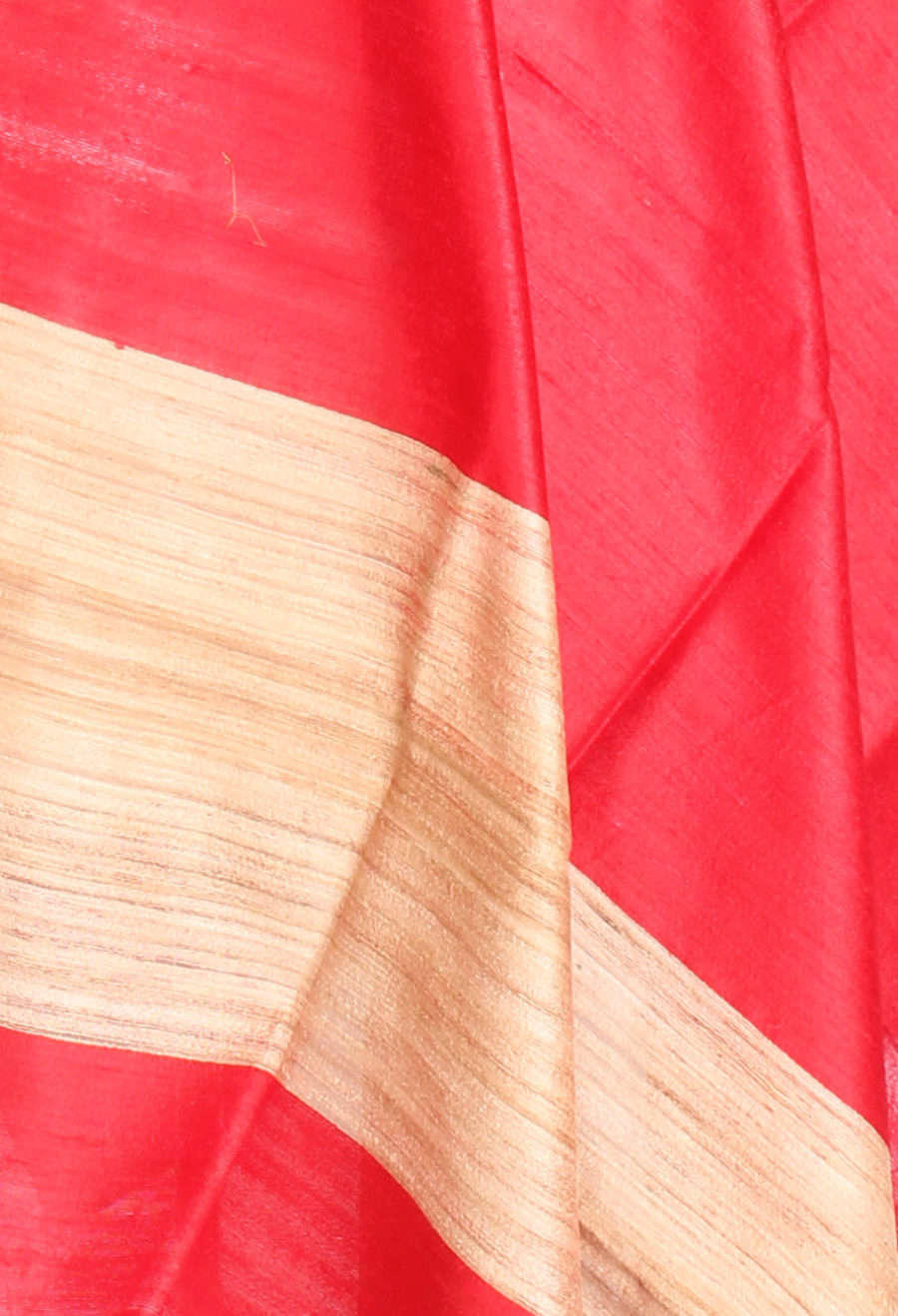 Red Tussar Dupion Raw silk Solid woven dupatta (2) Close up