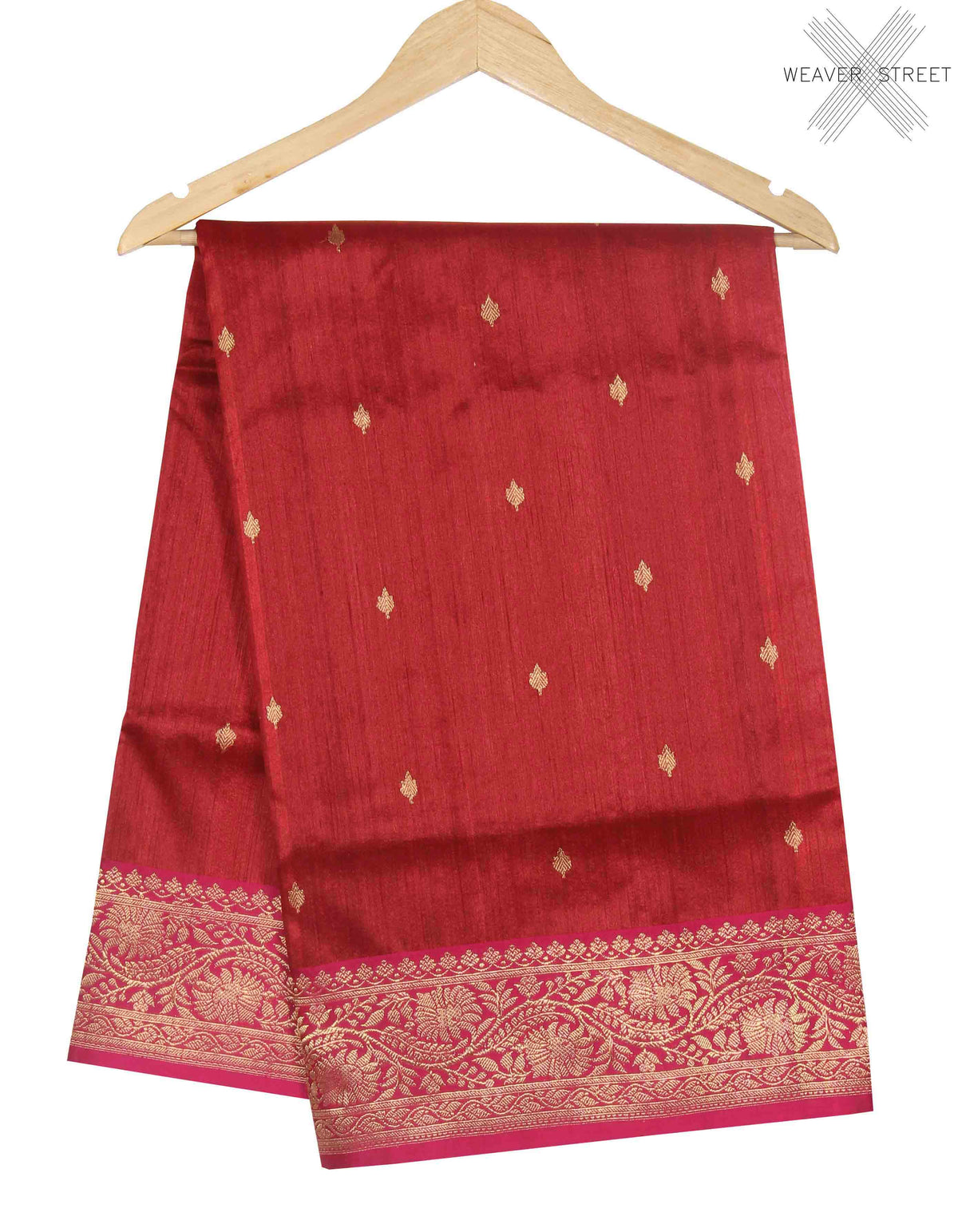 Red Tussar Silk Handwoven Banarasi Saree with mini leaf motifs (1) main
