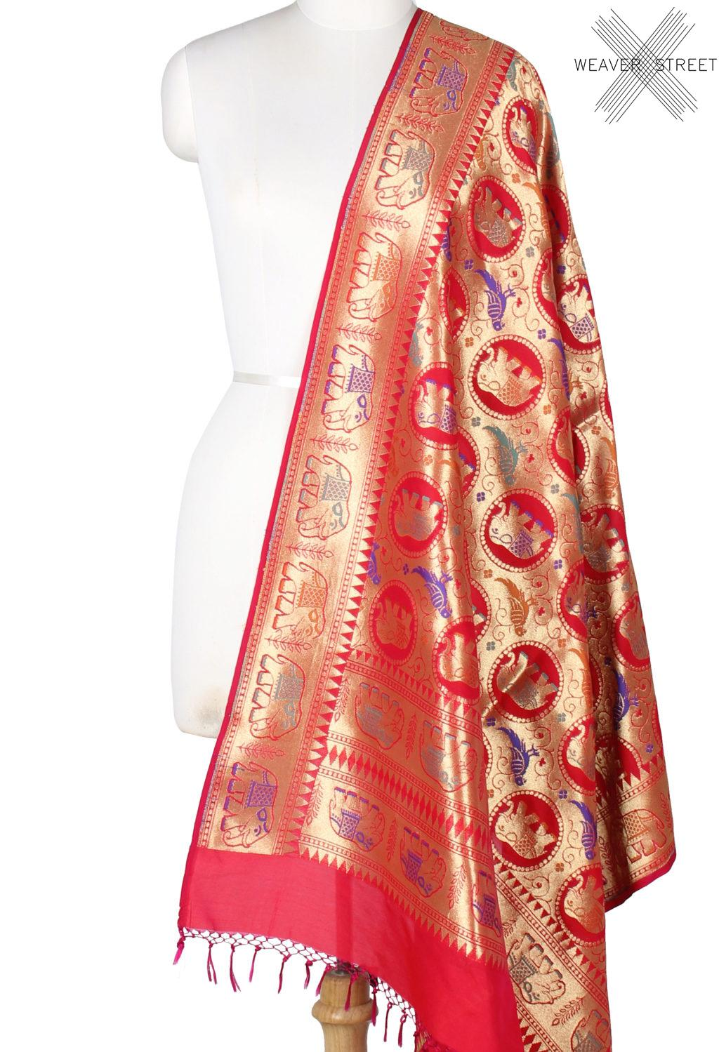 Red art silk Banarasi dupatta with meenedar elephant and parrot motifs (1) Main