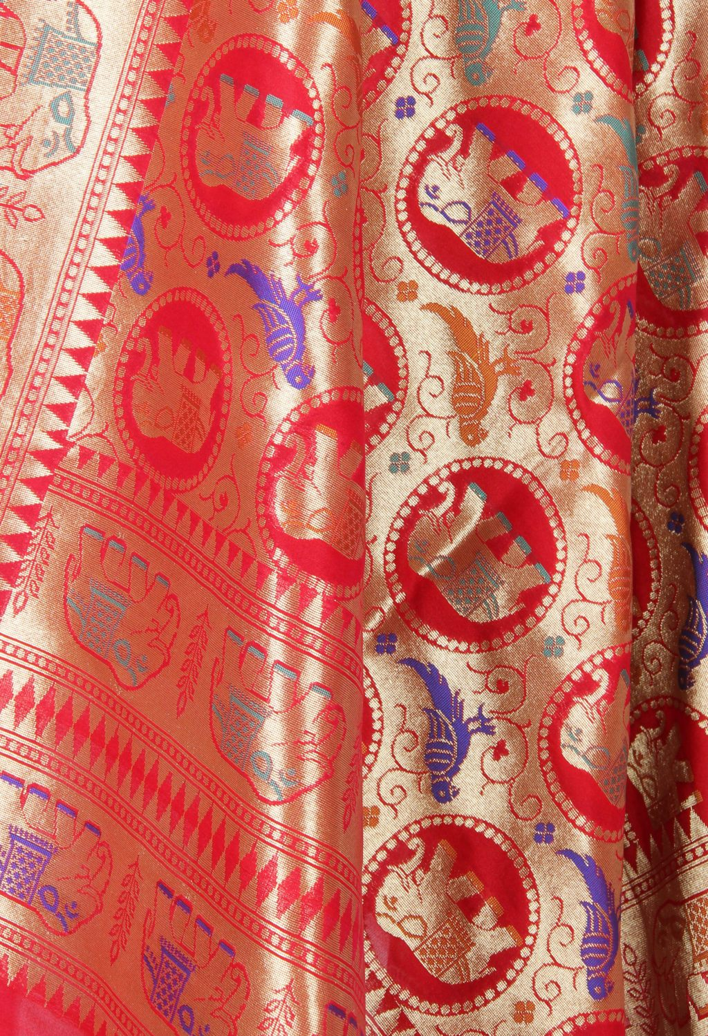 Red art silk Banarasi dupatta with meenedar elephant and parrot motifs (2) Close up