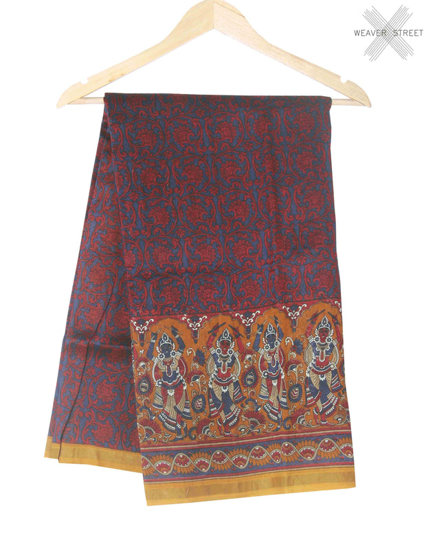 Red blue printed silk cotton saree (1) main