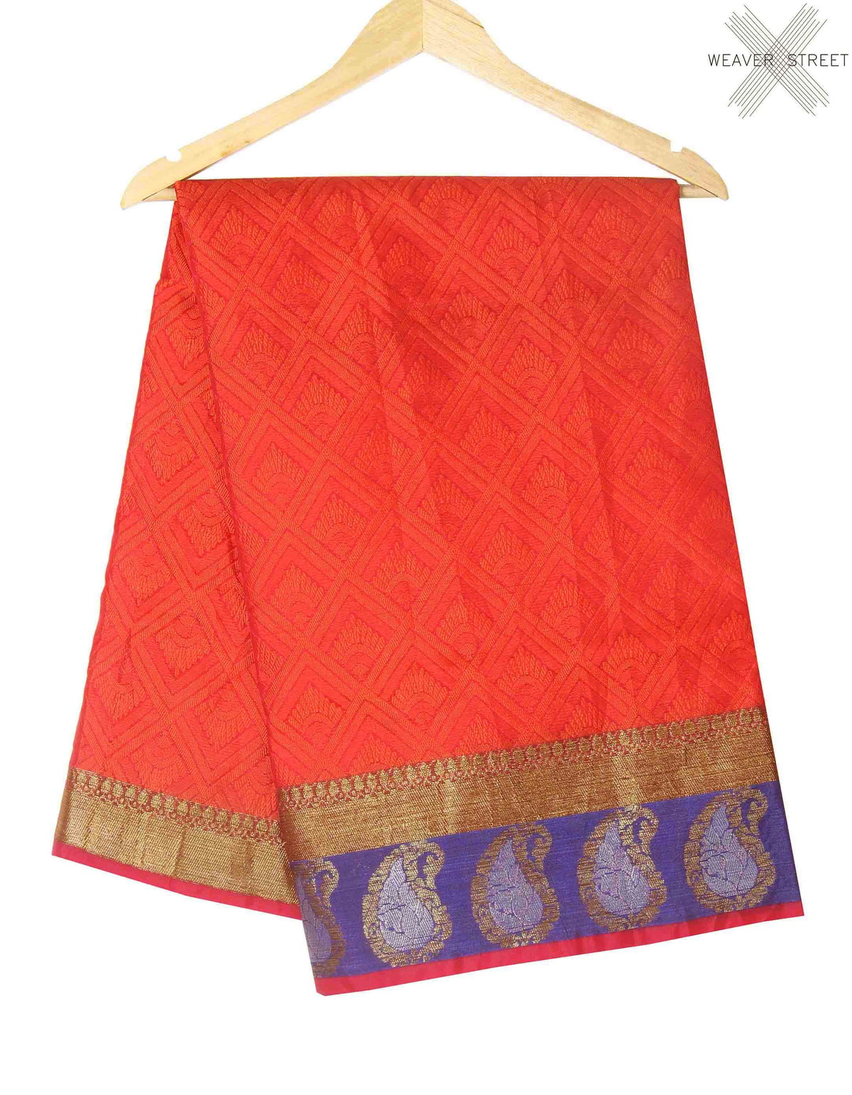 Red orange Cotton art silk tanchoi Banarasi saree with geometrical jaal (1) main
