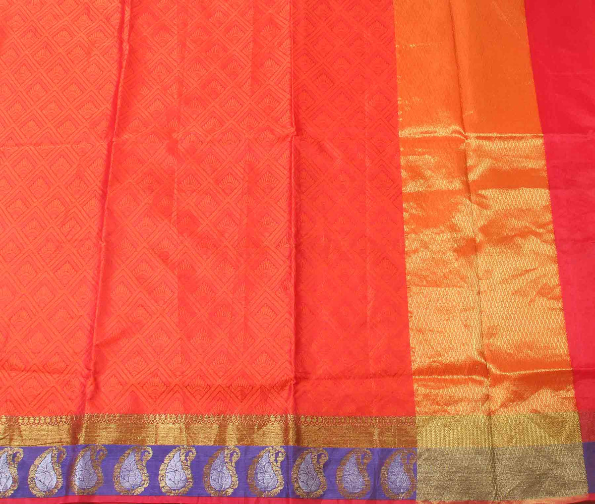 Red orange Cotton art silk tanchoi Banarasi saree with geometrical jaal (2) flat