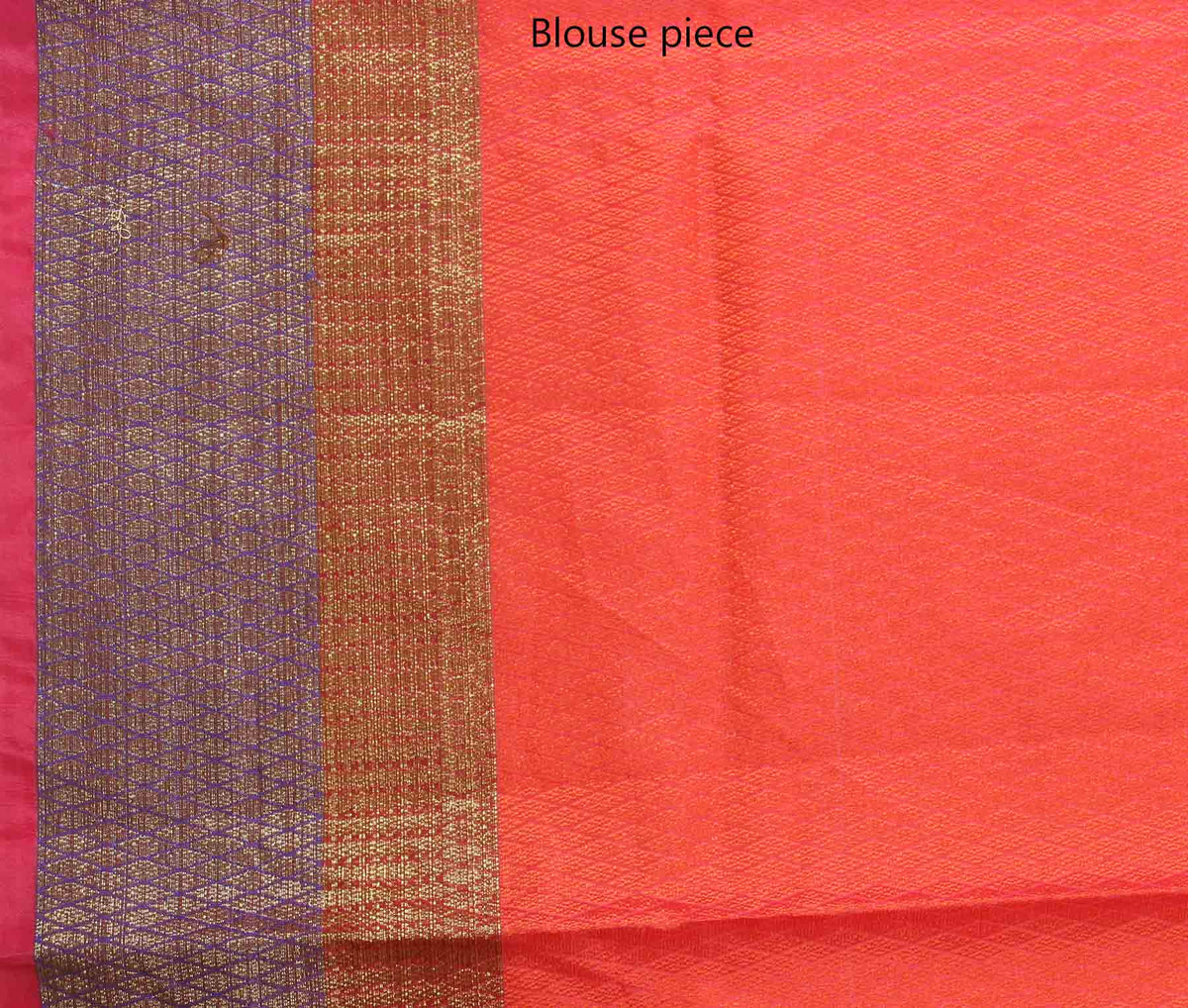 Red orange Cotton art silk tanchoi Banarasi saree with geometrical jaal (4) blouse