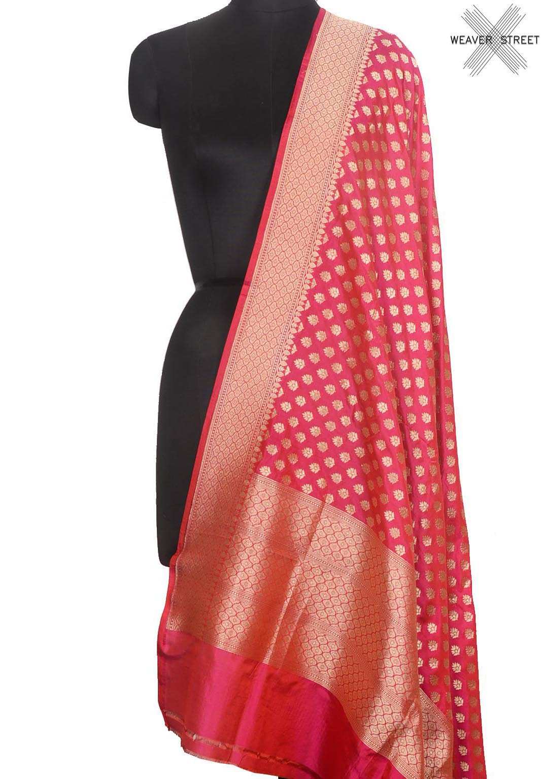 Reddish pink Katan silk Handwoven Banarasi dupatta with mini leaf buti (1) Main