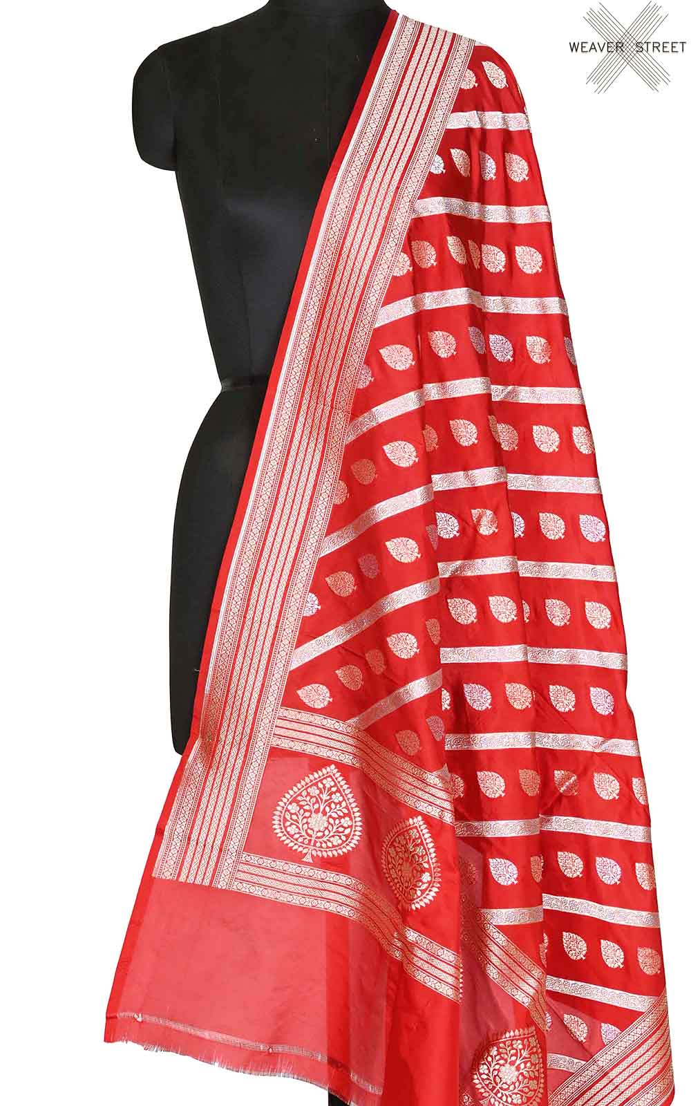 Red katan silk Banarasi dupatta with diagonal leaf boota (1) Main