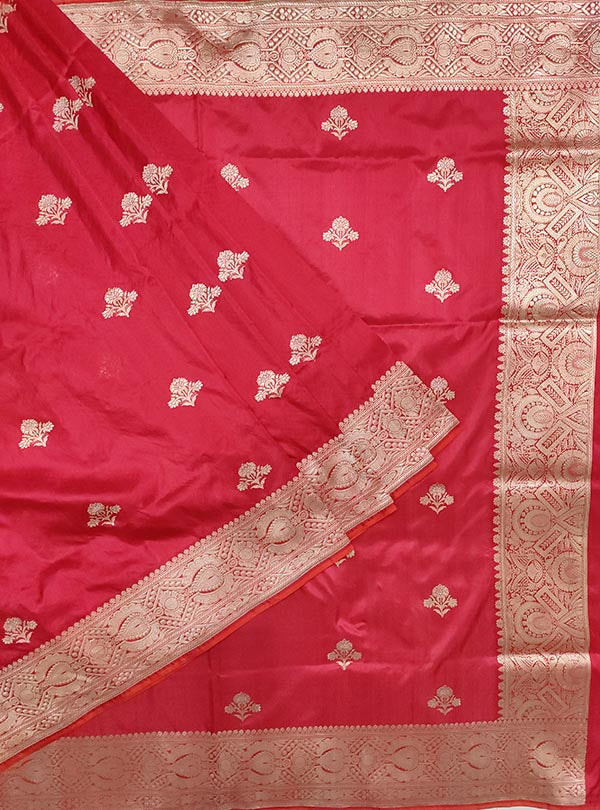 Red katan silk Banarasi saree with alfi flower boota (1) main