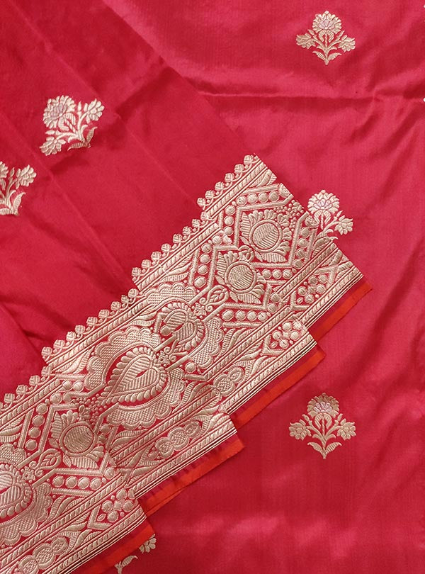 Red katan silk Banarasi saree with alfi flower boota (2) close up
