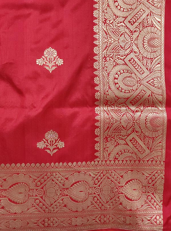 Red katan silk Banarasi saree with alfi flower boota (4) anchal