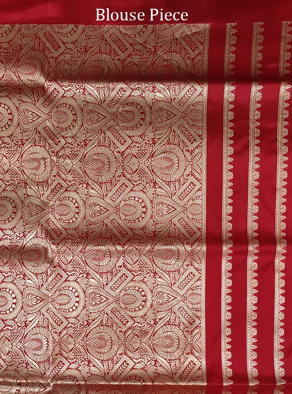 Red katan silk Banarasi saree with alfi flower boota (5) blouse