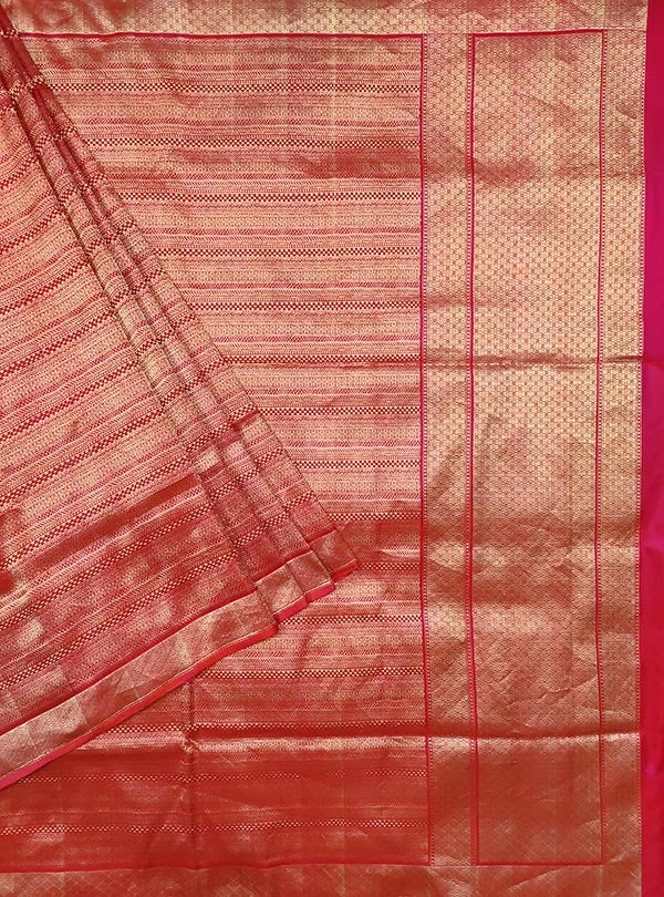 Red katan silk Banarasi saree with embossed zari pattern (1) main