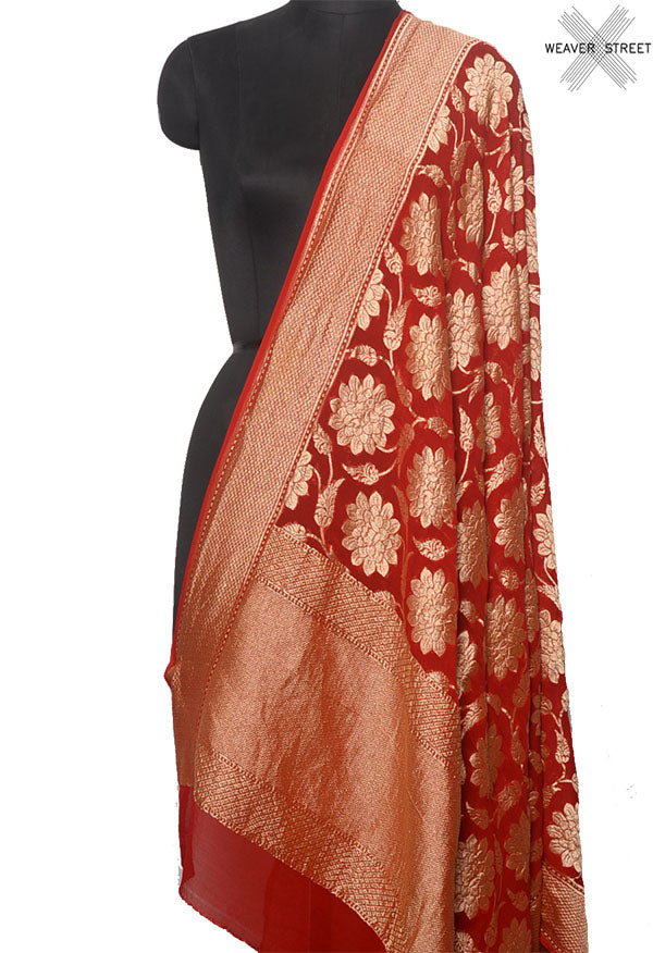Red khaddi georgette Banarasi dupatta with floral jaal (1) Main