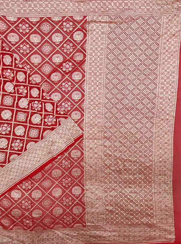 Red khaddi georgette Banarasi saree with peacock, mandala and flower in grid jaal (1) main