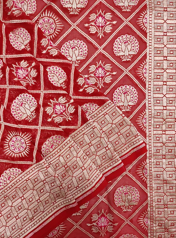 Red khaddi georgette Banarasi saree with peacock, mandala and flower in grid jaal (2) close up