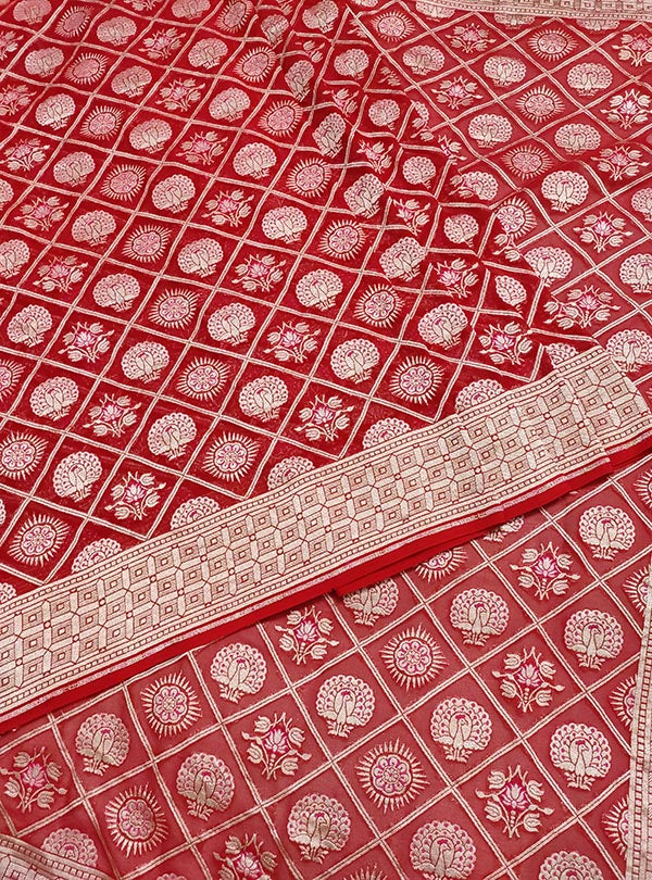 Red khaddi georgette Banarasi saree with peacock, mandala and flower in grid jaal (3) center
