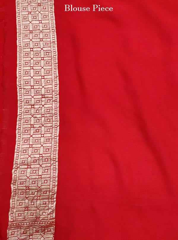 Red khaddi georgette Banarasi saree with peacock, mandala and flower in grid jaal (5) blouse