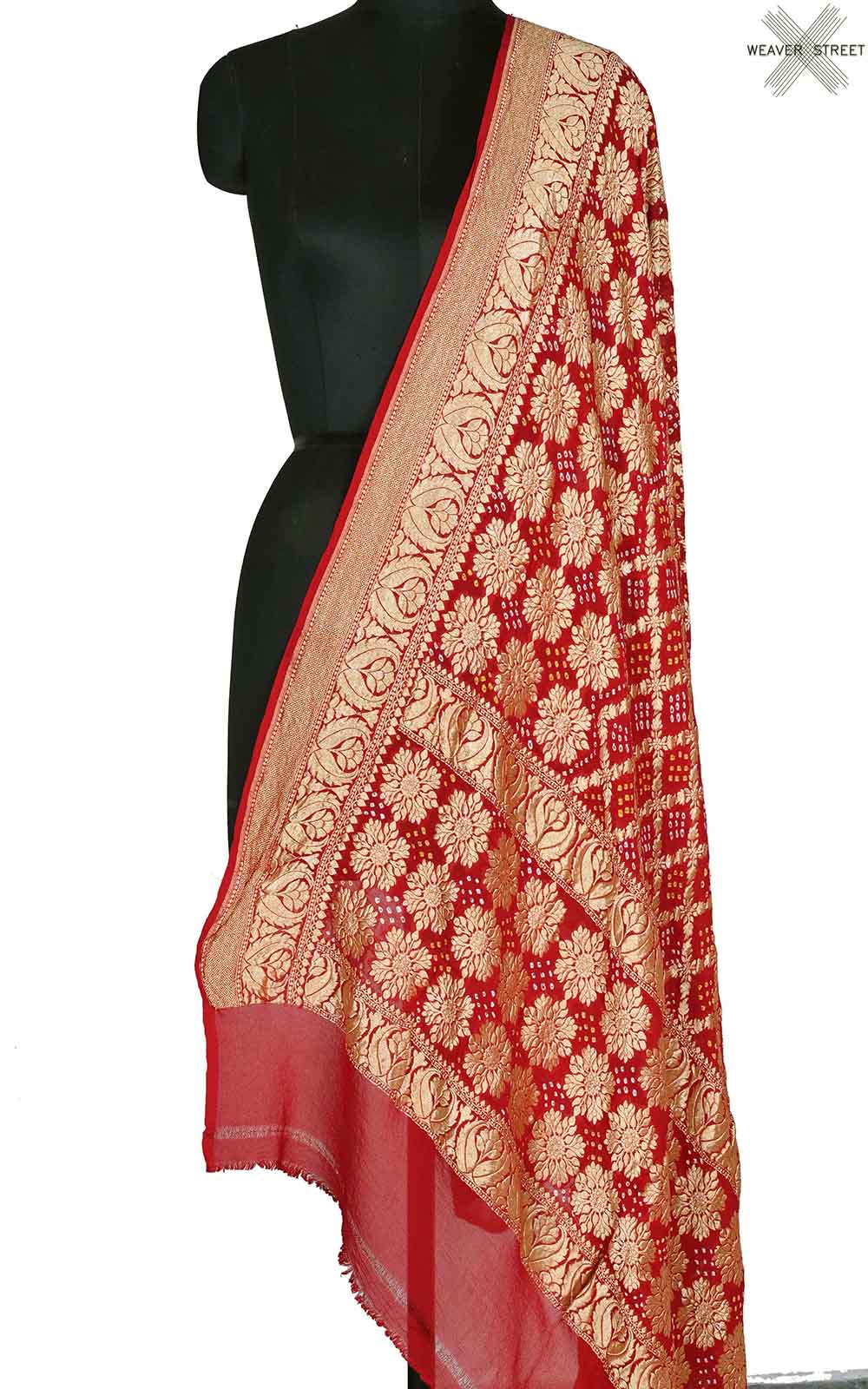 Red khaddi georgette Bandhani Banarasi dupatta with three layer jaal (1) Main