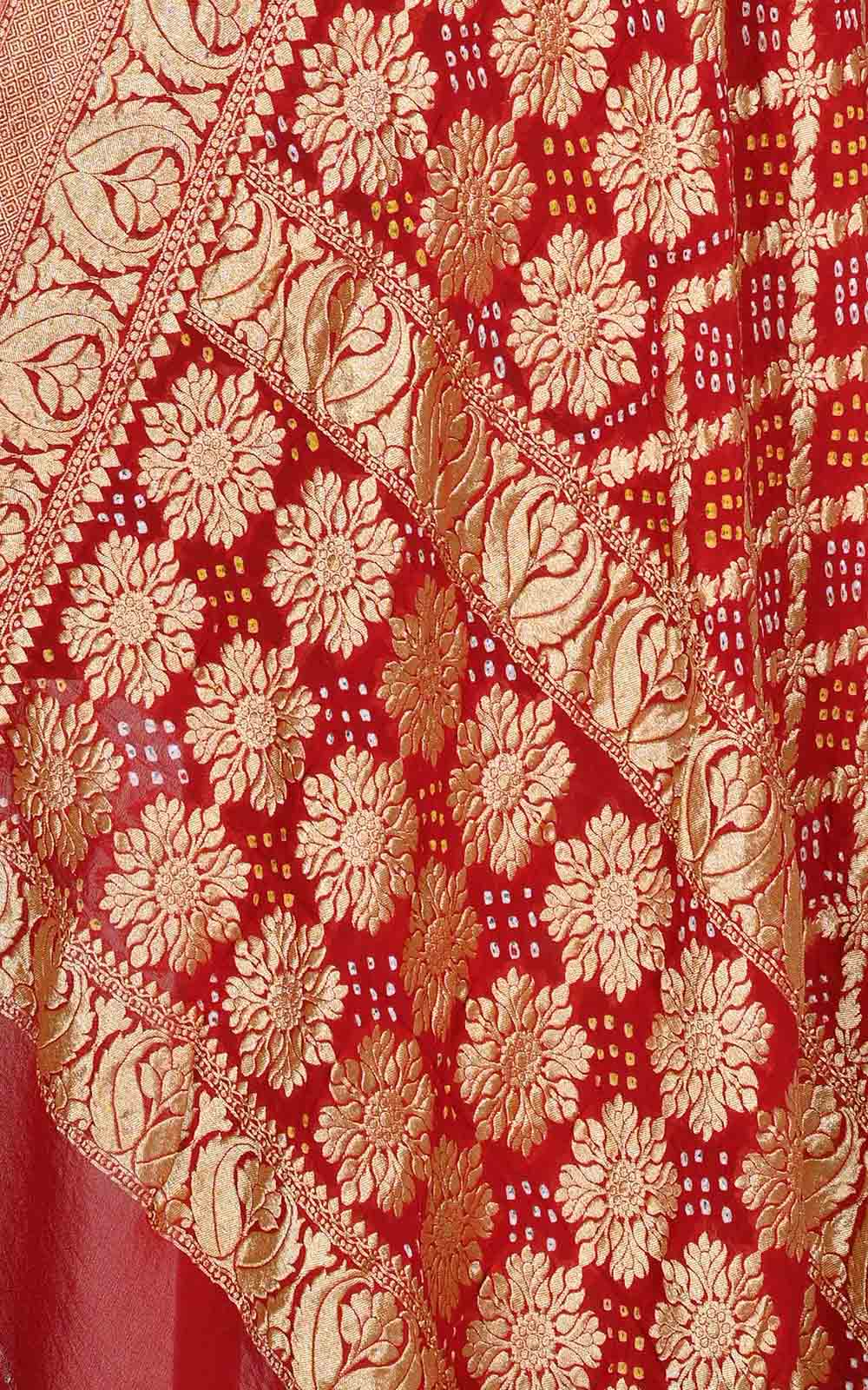 Red khaddi georgette Bandhani Banarasi dupatta with three layer jaal (2) Close up