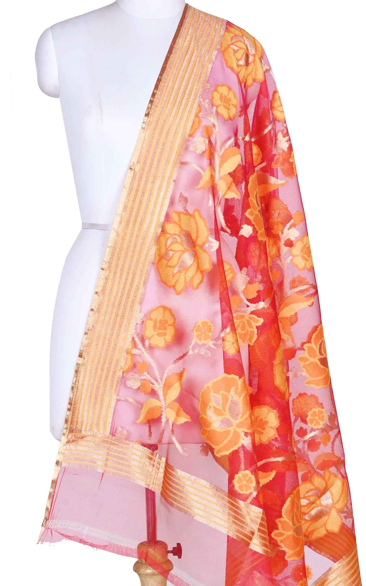 Red kora silk Banarasi dupatta with meenedar flower jaal (1) Main