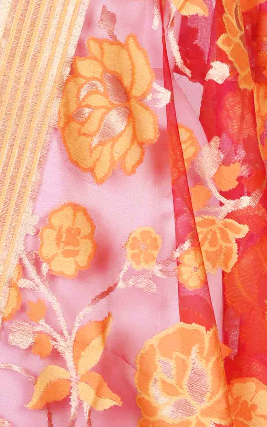 Red kora silk Banarasi dupatta with meenedar flower jaal (2) Close up