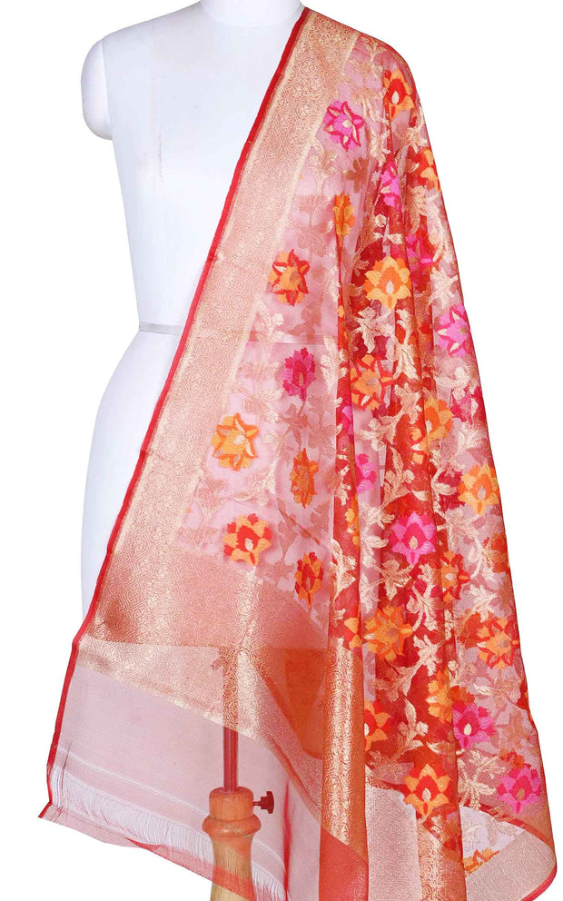Red kora silk Banarasi dupatta with multi color flower jaal (1) Main