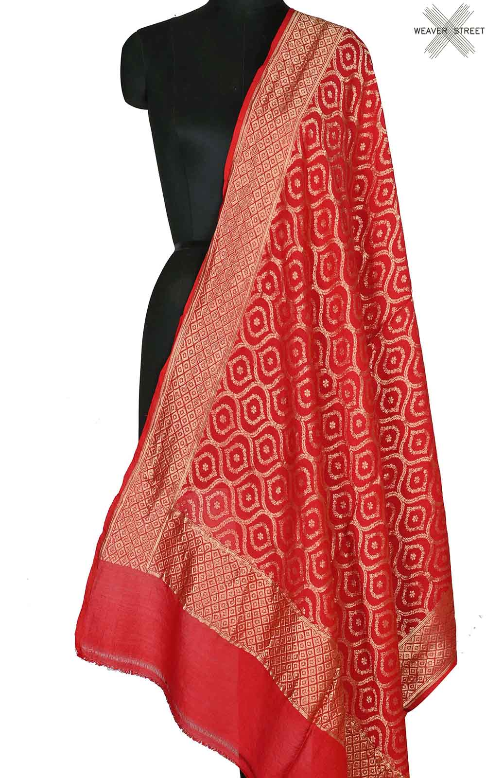 Red muga silk Banarasi dupatta with ogee jaal (1) Main