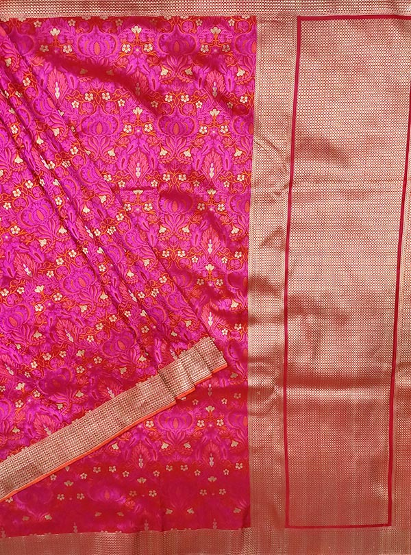 Red pink katan silk tanchoi Banarasi saree with tehra jamewar jaal (1) main