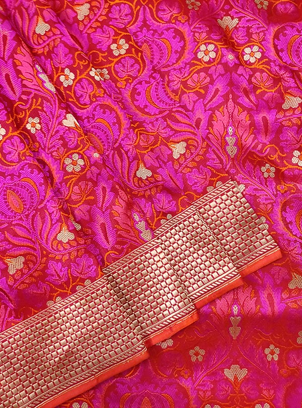 Red pink katan silk tanchoi Banarasi saree with tehra jamewar jaal (2) close up