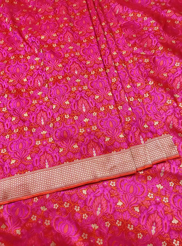 Red pink katan silk tanchoi Banarasi saree with tehra jamewar jaal (3) center