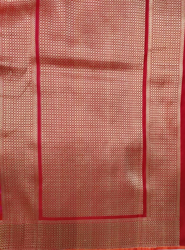Red pink katan silk tanchoi Banarasi saree with tehra jamewar jaal (4) anchal