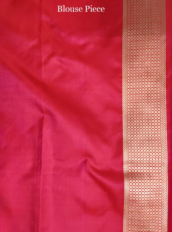 Red pink katan silk tanchoi Banarasi saree with tehra jamewar jaal (5) blouse