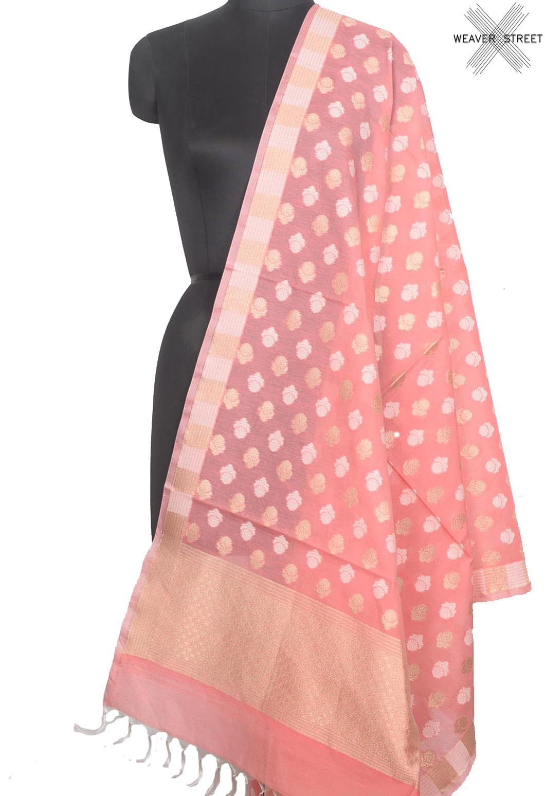 Rogue Pink Silk cotton Banarasi dupatta with flower buta (1) Main