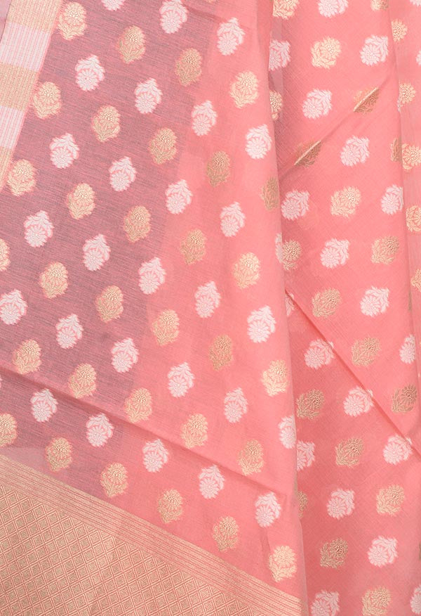 Rogue Pink Silk cotton Banarasi dupatta with flower buta (2) Close up