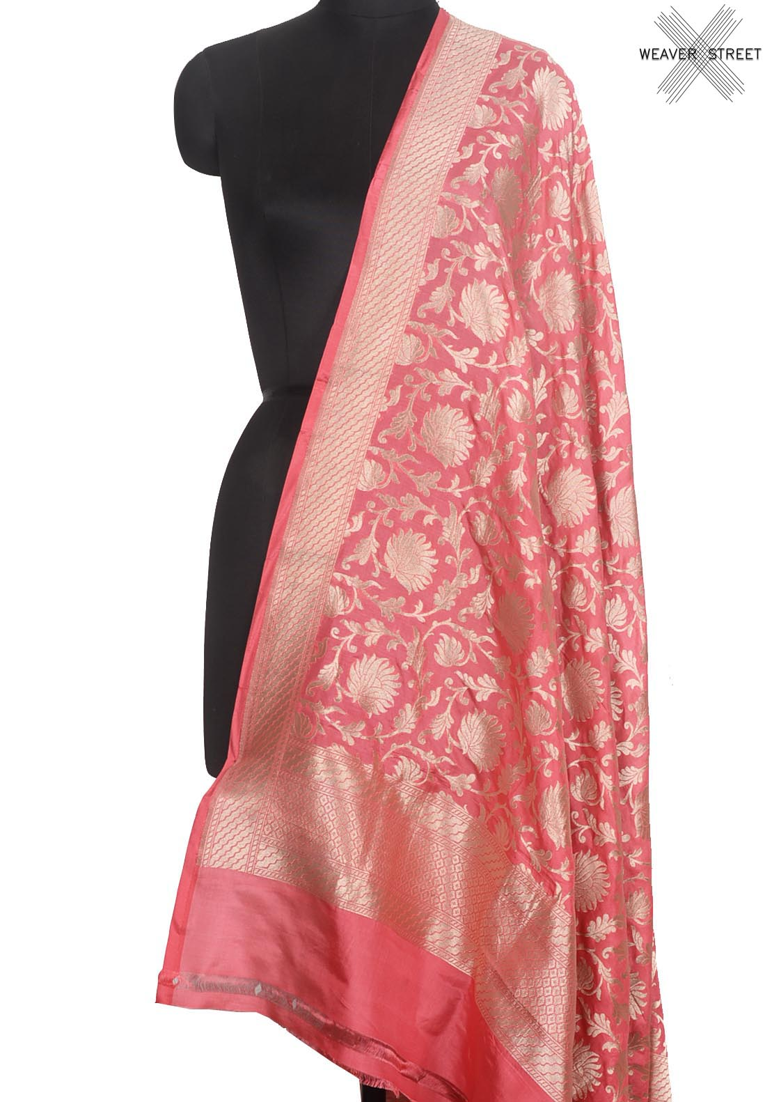 Rogue pink katan silk Handwoven Banarasi dupatta with floral jaal (1) Main