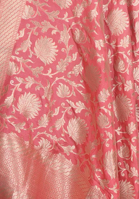 Rogue pink katan silk Handwoven Banarasi dupatta with floral jaal (2) Close up