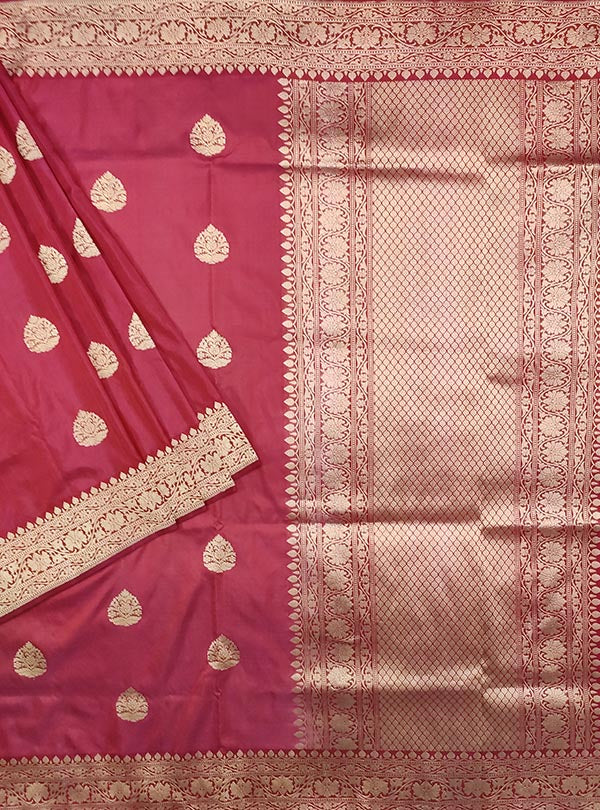 Rosewood katan silk handloom Banarasi saree with stylized leaf shape boota (1) Main