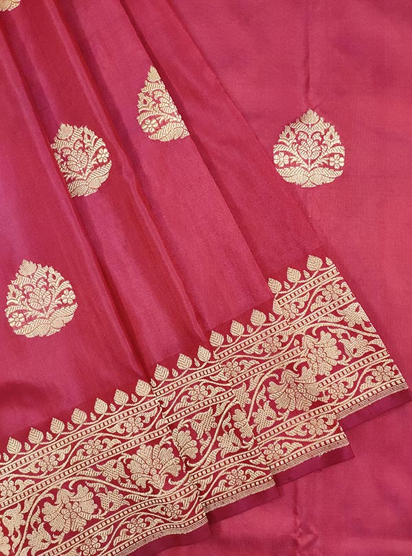 Rosewood katan silk handloom Banarasi saree with stylized leaf shape boota (2) CLose up