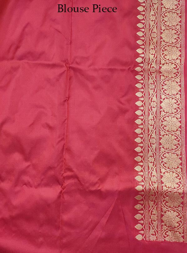 Rosewood katan silk handloom Banarasi saree with stylized leaf shape boota (5) Blouse