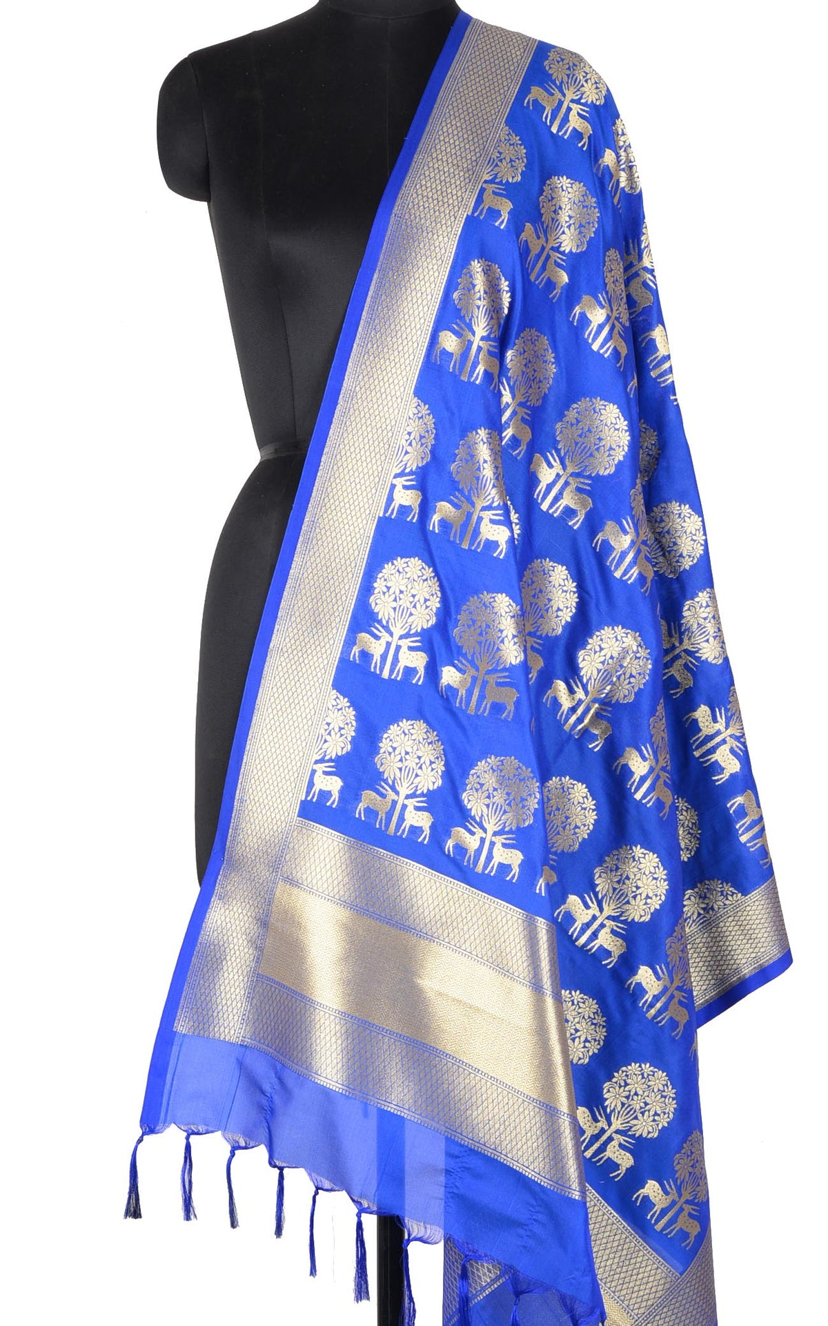 Royal Blue Banarasi dupatta with deer under tree motifs (1) Main