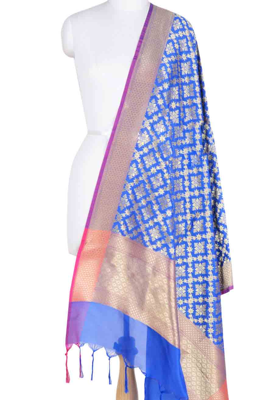 Royal Blue Banarasi dupatta with geometrical motifs and jaal (1) Main