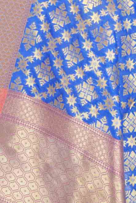 Royal Blue Banarasi dupatta with geometrical motifs and jaal (2) Closeup