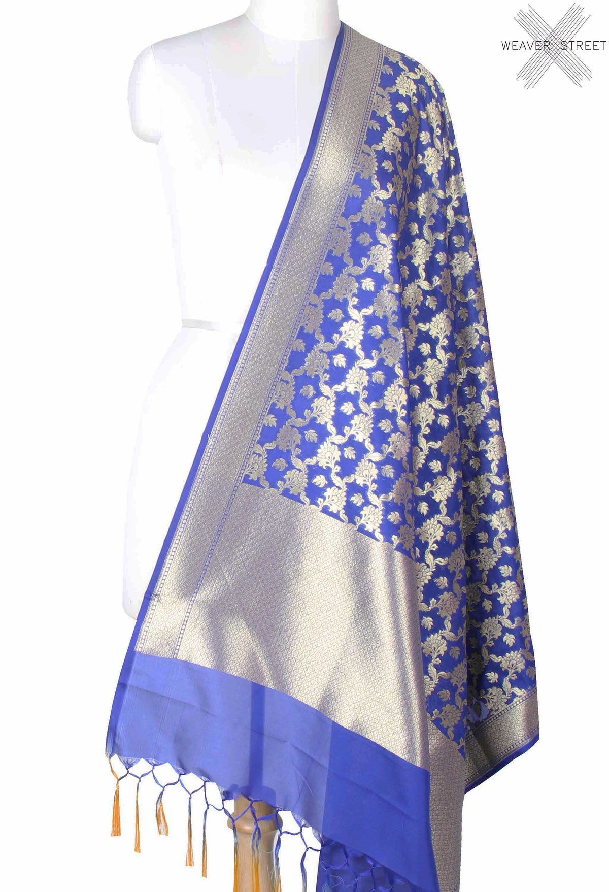 Royal Blue Banarasi dupatta with leaf motifs inside flower jaal (1) main