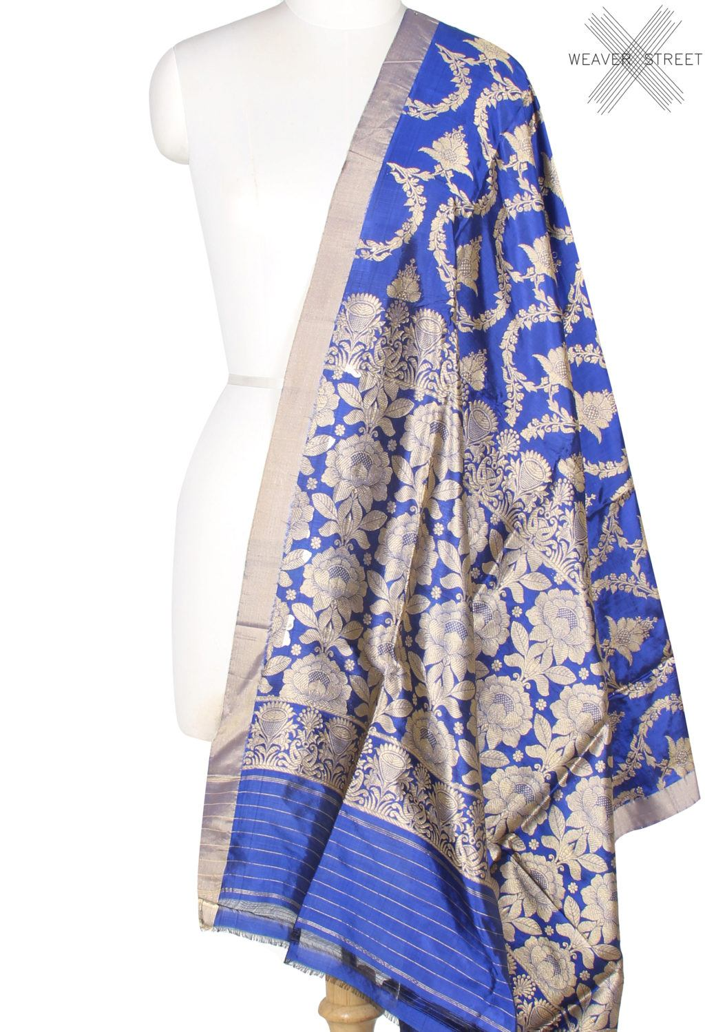 Royal Blue katan silk Banarasi dupatta with lotus flower jaal (1) Main