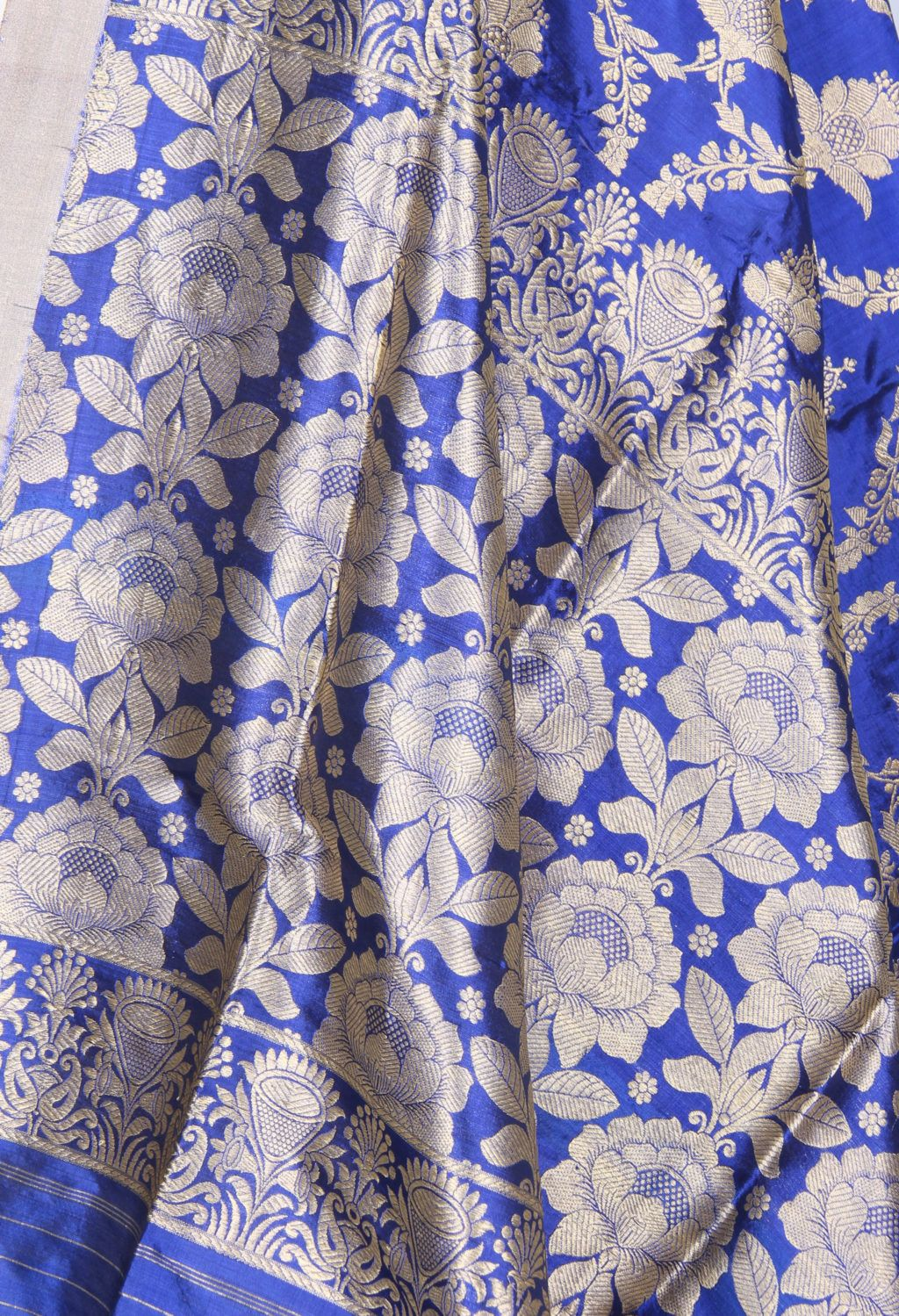 Royal Blue katan silk Banarasi dupatta with lotus flower jaal (2) Close up