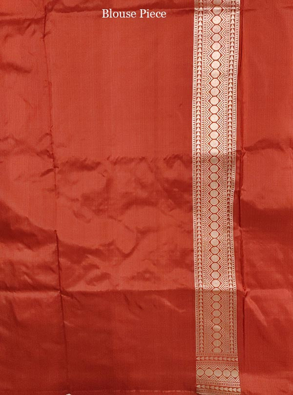 Rust Katan Silk handloom Banarasi saree with leaf shape boota (4) blouse