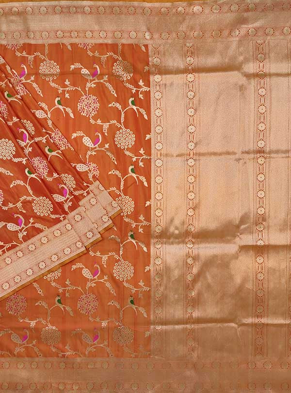 Rust Katan silk Handwoven Banarasi saree with meenedar birds jaal (1) main