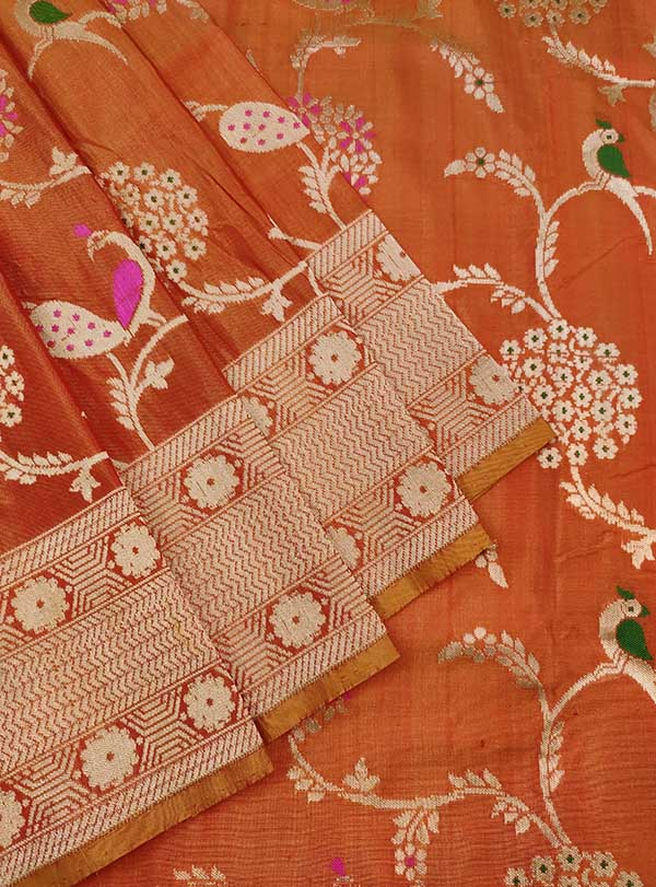 Rust Katan silk Handwoven Banarasi saree with meenedar birds jaal (3) close up