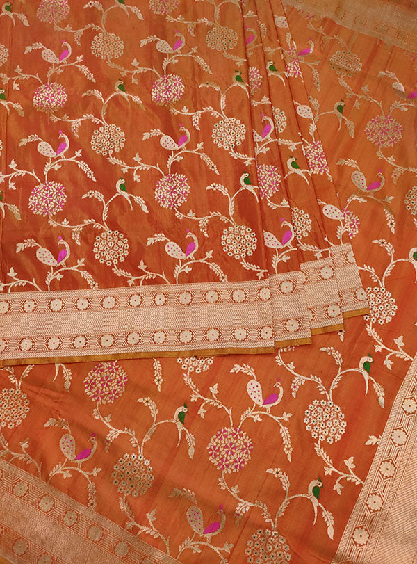 Rust Katan silk Handwoven Banarasi saree with meenedar birds jaal (4) center